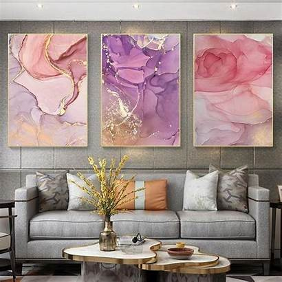 Canvas Marble Prints Elegant Rose Decoration Abstract