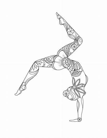 Handstand Yoga Coloring Mandala Pages Drawing Hand
