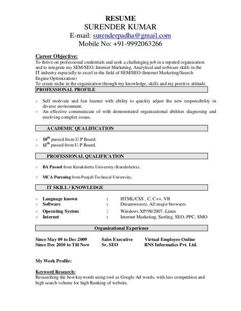 Seo Resume by Seo Resume Sle Surender Kumar Resume