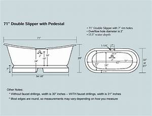 71 U0026quot  Cast Iron Double Ended Slipper Pedestal Tub