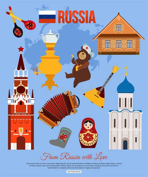 Russia Travel Background With Place For Text Set Stock