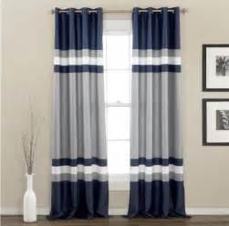modern navy blue gray white color black stripe grommet