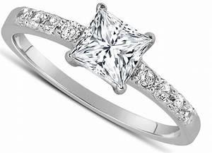 1 Carat Princess cut Diamond Engagement Ring in 10K White ...