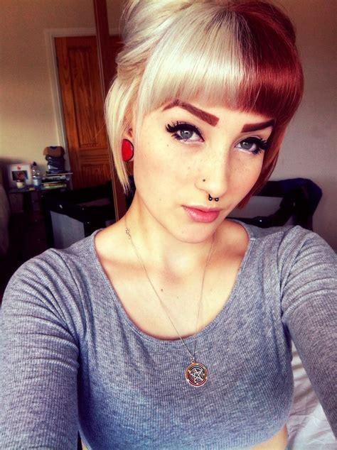 Women That Rocked Split Dyed Hair Long Hairstyles
