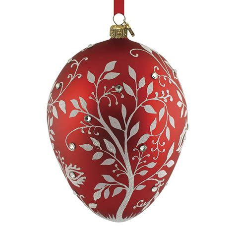 silver and red christmas ornaments mistetoe egg reed and barton blown glass ornament