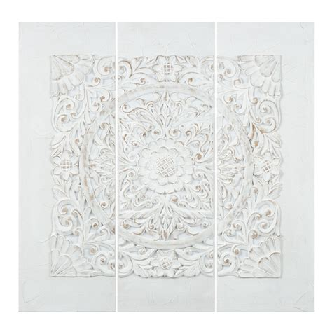 magasin chambre bebe triptyque en polyrésine blanc 90 x 90 cm udaipur maisons