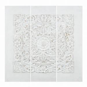 triptyque en polyresine blanc 90 x 90 cm udaipur maisons With triptyque maison du monde