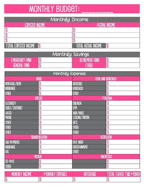 printable monthly budget worksheet  images