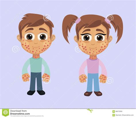 Rash In Children Allergy Vector Illustration
