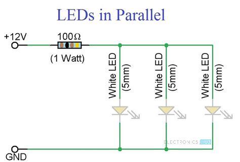 simple led circuits single led series leds  parallel leds