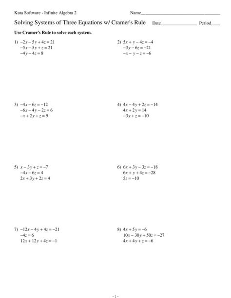 worksheets solving system of equations by elimination