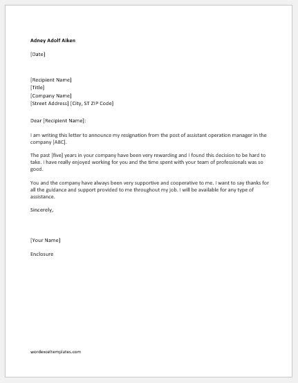 Immediate Resignation Letters with & without Reason | Word & Excel Templates