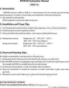 Pax Technology Sp20v4 Pinpad User Manual