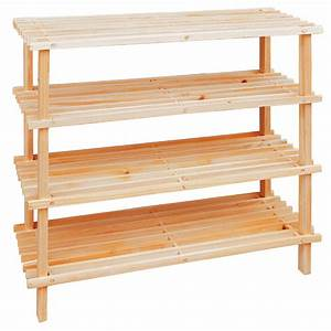 4, Tier, Shoe, Rack, Wooden, Slatted, Shelf, Rack, Organizer, Storage, Tidy, Stand, New, 4052025019730