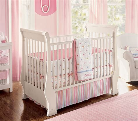 nice pink bedding for pretty baby girl nursery from prottery barn kidsomania