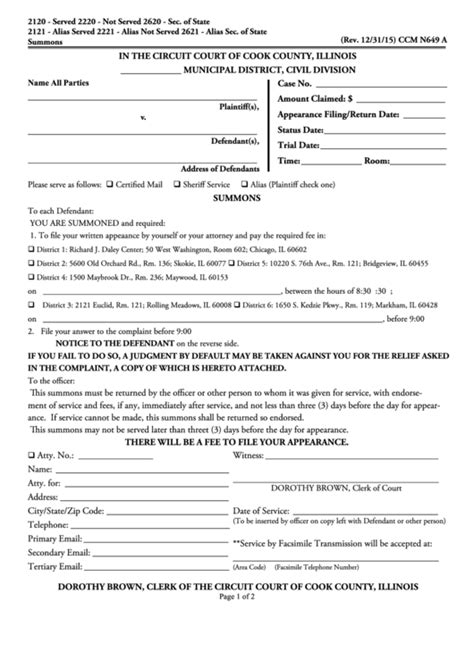 fillable circuit court of cook county summons form printable pdf download