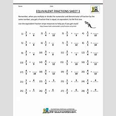 Free Fraction Sheets Equivalent Fractions 3  #studentteaching  Fractions Worksheets