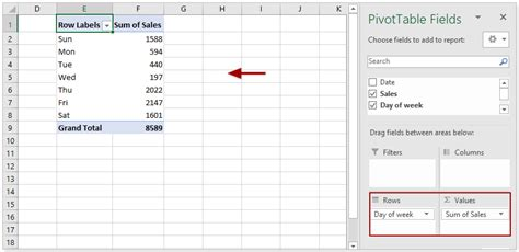 pivot week table excel