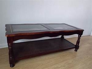 Old and vintage polished square mahogany coffee table with for Mahogany coffee table set