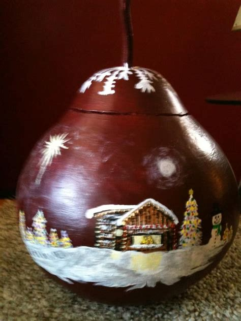 christmas gourd i painted and sold crafty ideas pinterest