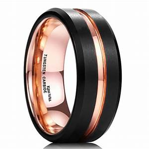 king will mens 8mm black matte finish tungsten carbide With black tungsten ring rose gold wedding band
