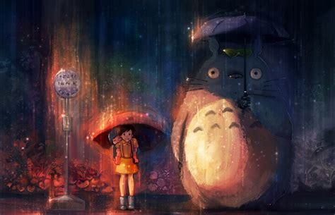 fonds decran  neighbor totoro parapluie anime dessins