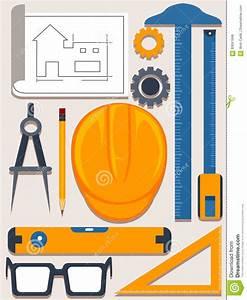 Set Of Architect Tools On White Blueprint Royalty-Free ...