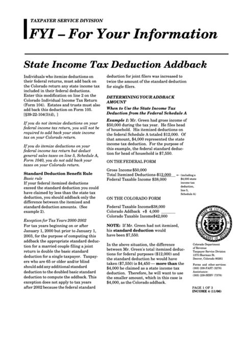 State Income Tax Deduction Addback Instruction Form - 2006