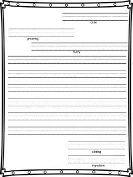 friendly letter writing paper   grade  tpt