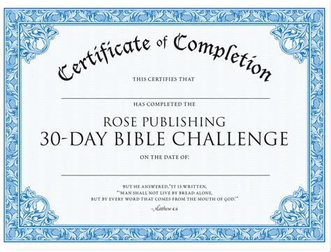 Of The Bible Certificate Congratulations On Completing The 30 Day Bible Reading