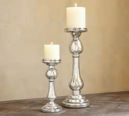 Pottery Barn Crystal Table Lamps by Kingsley Etched Mercury Glass Pillar Holders Traditional
