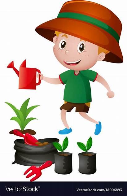 Watering Plants Boy Vector Clipart Clip Royalty