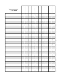 blank attendance sheet  crafty aquarius design tpt