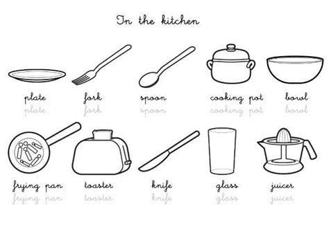 ustensile de cuisine en r coloriage imagier en anglais kitchen vocabulary