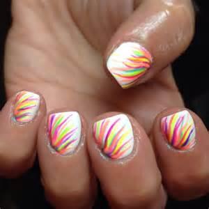 Nails nail art white neon rainbow gelish shellac cute