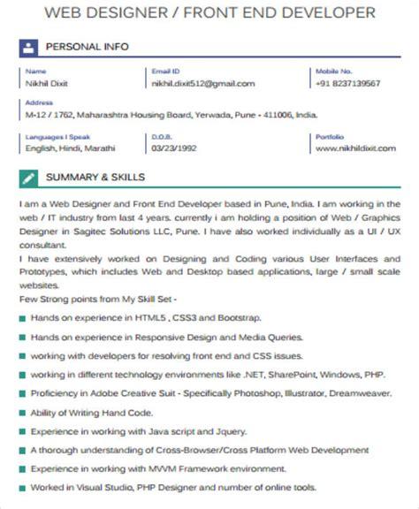 20773 front end developer resume 7 sle front end developer resumes sle templates