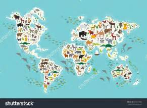 World Map Continents and Animals