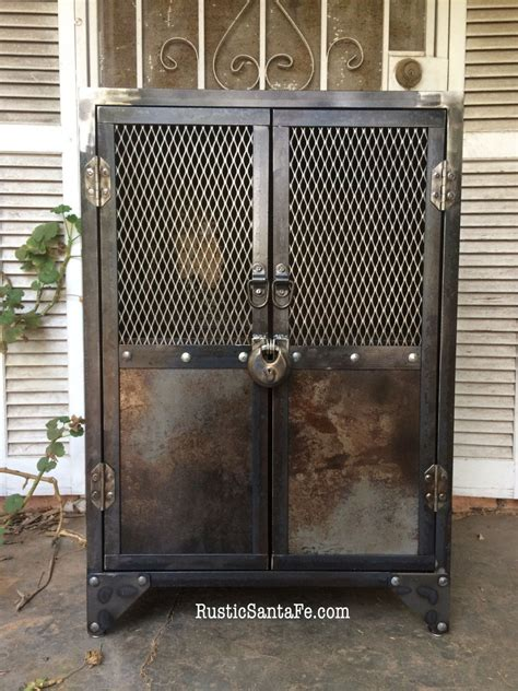 liquor cabinet rustic iron and wood with by industrial steel locking liquor cabinet industrial