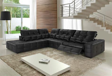 sala sofa preto e painel sof 225 tivectra canto em l couro ecol 243 gico preto 4 lugares