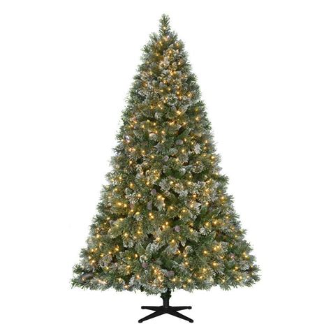 holiday living 12 ft christmas tree 7 5 ft pre lit led sparkling pine set artificial tree ebay