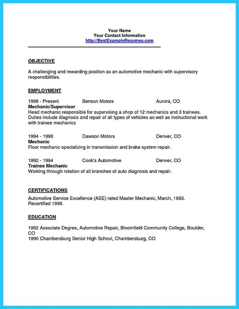 Auto Service Writer Resume by Writing A Concise Auto Technician Resume