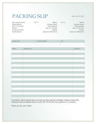 packing sliptemplates word  excel