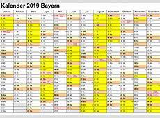 Kalender 2019 Bayern Ausdrucken, Ferien, Feiertage, Excel