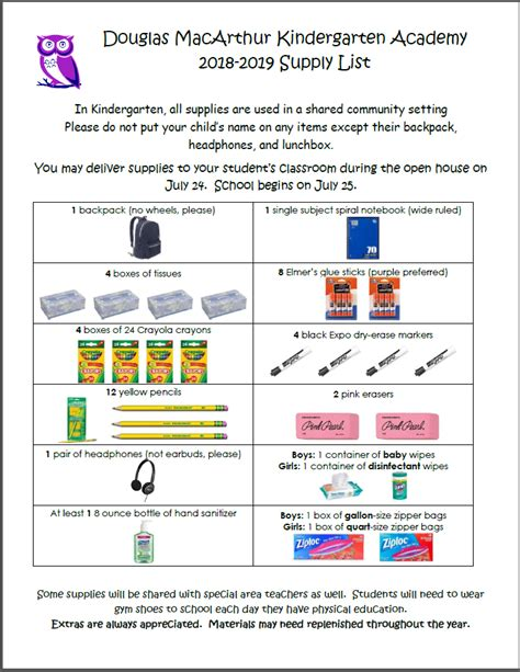 school supply list douglas macarthur kindergarten academy