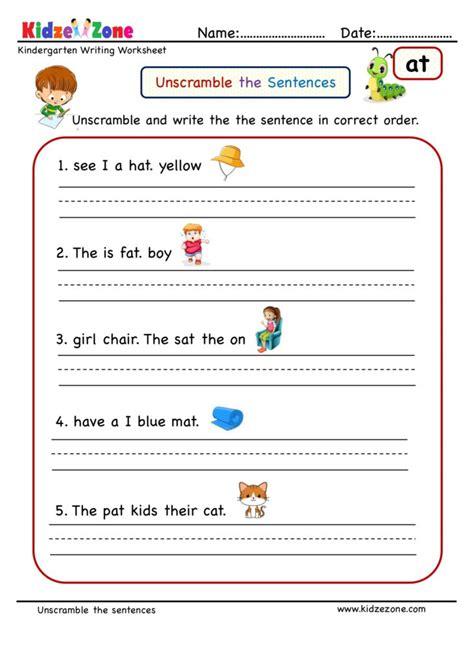 kindergarten worksheets  word family unscramble words