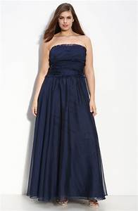 Elegant strapless long deep navy blue plus size bridesmaid ...