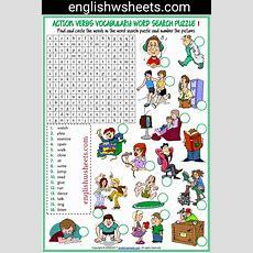 Action Verbs Esl Printable Word Search Puzzle Worksheets For Kids #action #verbs #actionverbs