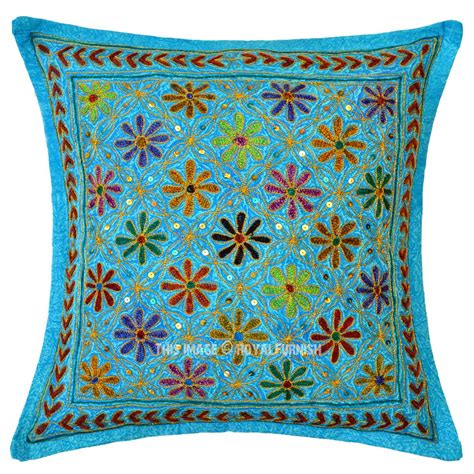 turquoise blue decorative needlepoint embroidered cotton