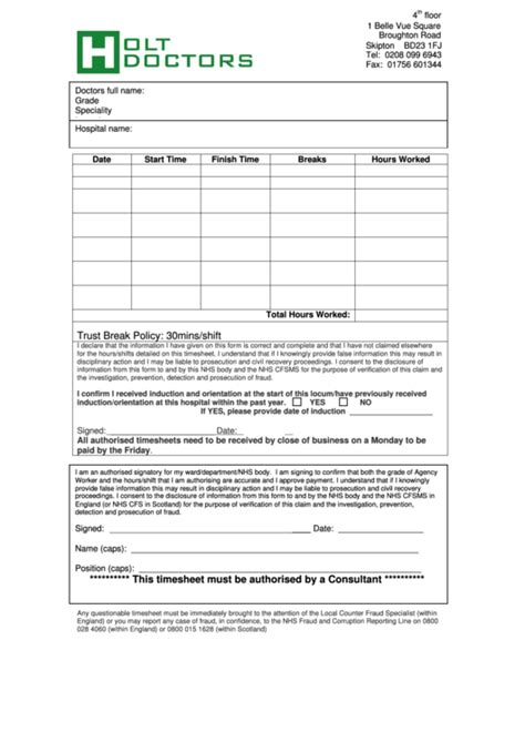 doctor timesheet printable
