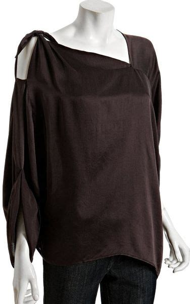 love sam chocolate silk asymmetrical tie detail blouse